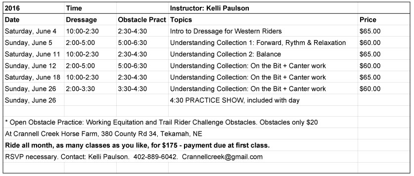 Dressage for Western Riders Schedule